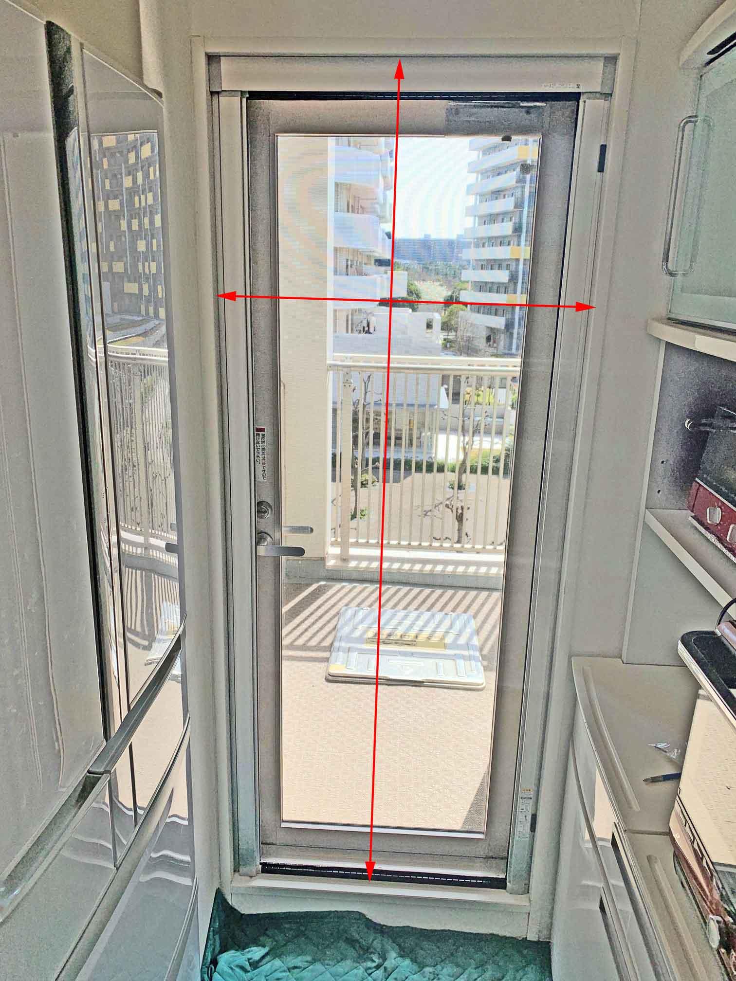 プリーツ式網戸の窓枠採寸
